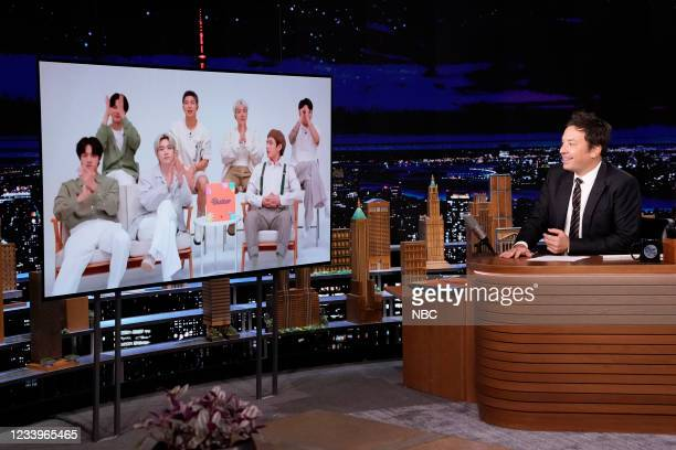 Episode 1489 -- Pictured: K-Pop band BTS during an interview with host Jimmy Fallon on Tuesday, July 13, 2021 --