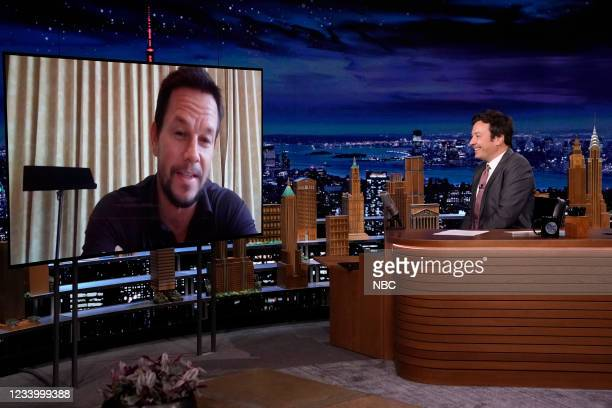 Episode 1491 -- Pictured: Actor Mark Wahlberg during an interview with host Jimmy Fallon on Thursday, July 15, 2021 --