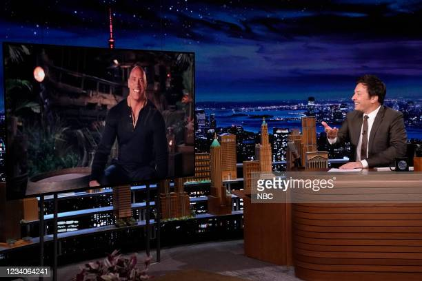 Episode 1492 -- Pictured: Actor Dwayne Johnson during an interview with host Jimmy Fallon on Monday, July 19, 2021 --