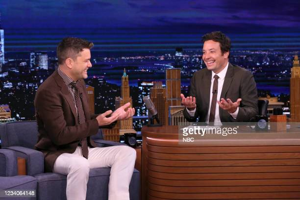 Episode 1492 -- Pictured: Actor Joshua Jackson during an interview with host Jimmy Fallon on Monday, July 19, 2021 --