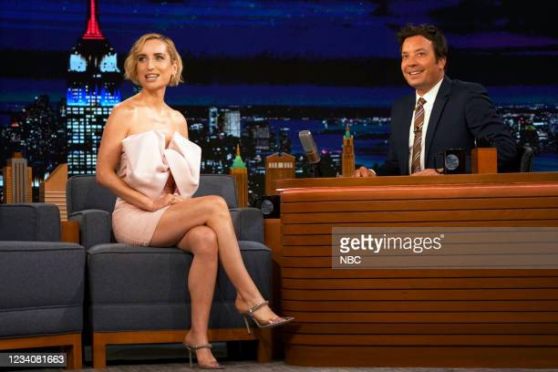Episode 1493 -- Pictured: Actress Zoe Lister-Jones during an interview with host Jimmy Fallon on Tuesday, July 20, 2021 --