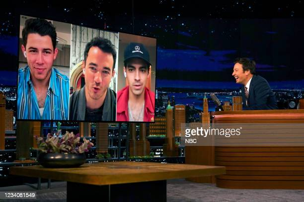 Episode 1493 -- Pictured: Nick Jonas, Kevin Jonas, and Joe Jonas of Jonas Brothers during an interview with host Jimmy Fallon on Tuesday, July 20,...
