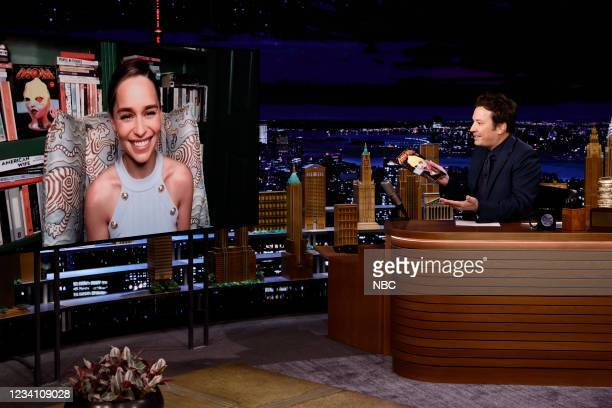 Episode 1494 -- Pictured: Actress Emilia Clarke during an interview with host Jimmy Fallon on Wednesday, July 21, 2021 --