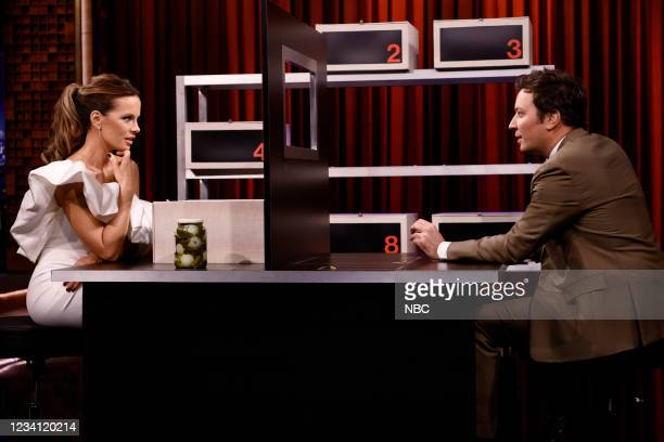 """Episode 1495 -- Pictured: Actress Kate Beckinsale and host Jimmy Fallon play """"Box of Lies"""" on Thursday, July 22, 2021 --"""
