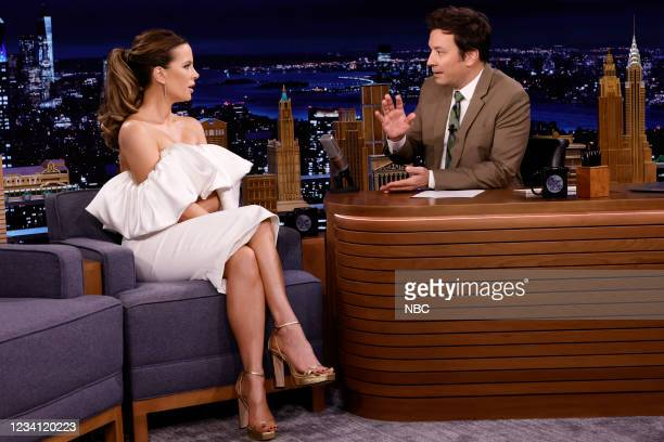 Episode 1495 -- Pictured: Actress Kate Beckinsale during an interview with host Jimmy Fallon on Thursday, July 22, 2021 --