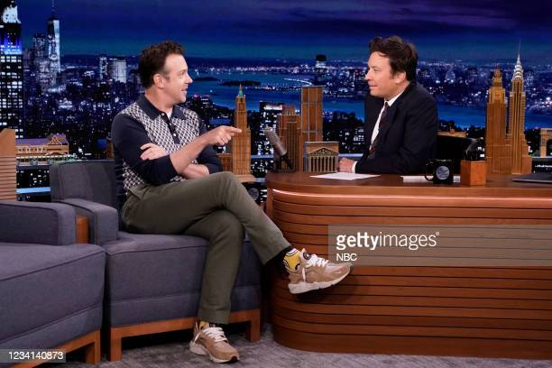 Episode 1496 -- Pictured: Actor Jason Sudeikis during an interview with host Jimmy Fallon on Friday, July 23, 2021 --