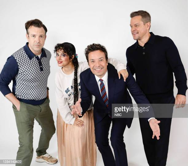 Episode 1496 -- Pictured: Actor Jason Sudeikis, singer Camila Cabello, host Jimmy Fallon, and actor Matt Damon pose for a photo on Friday, July 23,...