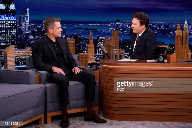 Episode 1496 -- Pictured: Actor Matt Damon during an interview with host Jimmy Fallon on Friday, July 23, 2021 --
