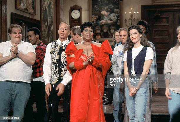 LIVE Episode 15 Aired Pictured Chris Farley Tim Meadows Aretha Franklin Nancy Kerrigan on March 12 1994