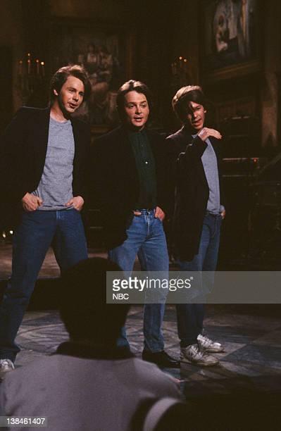 Dana Carvey as Michael J Fox Michael J Fox David Spade as Michael J Fox during the Monologue on March 16 1991