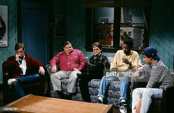 David Spade as guest Chris Farley as Jimbo Michael J Fox as Steve Charlton Chris Rock as guest Adam Sandler as guest during the 'Not Gettin' Any'...