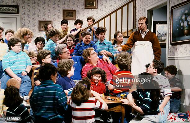 John Goodman as Cecil Jacobson Chris Farley as kid Dana Carvey as William Demarest during the 'My 75 Kids' skit on March 14 1992 Photo by Al...