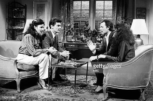 Paula Prentiss as wife Richard Benjamin as Steve Bill Murray as husband Gilda Radner as wife during the 'Joey Bishop Fans' sketch on April 5 1980