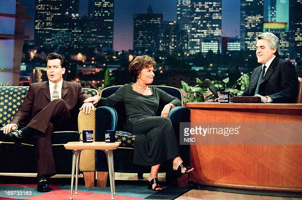 Actor Charlie Sheen Judge Judy Sheindlin host Jay Leno during an interview on December 3 1998