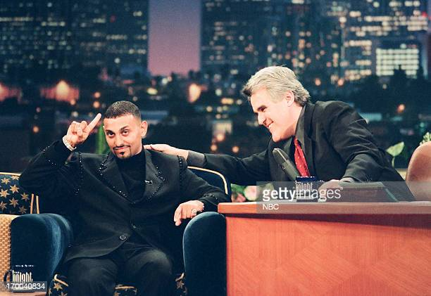 Boxer Prince Naseem Hamed host Jay Leno during an interview on December 4 1998
