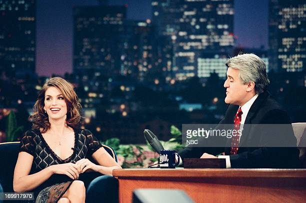 Supermodel Cindy Crawford host Jay Leno during an interview on December 8 1998