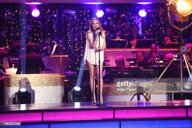 """Episode 1508A"""" - Global pop icon Minogue performed """"Locomotion"""" alongside the renowned """"DWTS"""" band, accompanied by pro dancers Kym Johnson and..."""