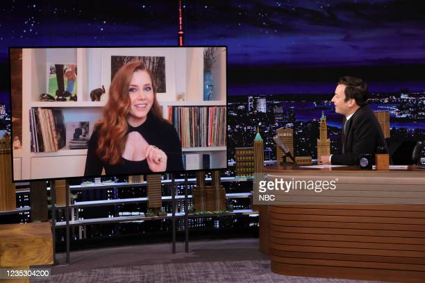 Episode 1516 -- Pictured: Actress Amy Adams during an interview with host Jimmy Fallon on Thursday, September 16, 2021 --