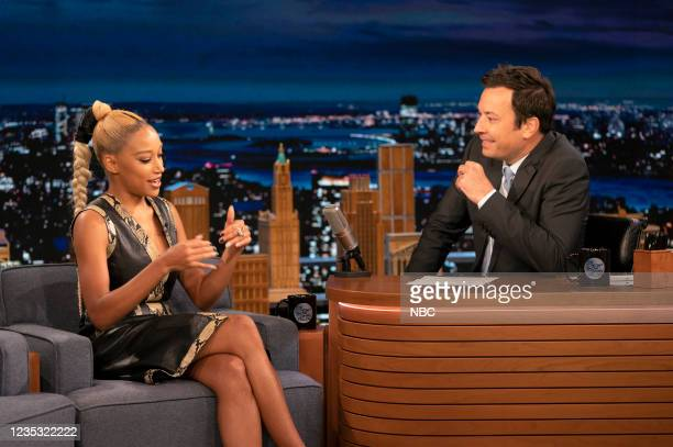 Episode 1517 -- Pictured: Actress Amandla Stenberg during an interview with host Jimmy Fallon on Friday, September 17, 2021 --