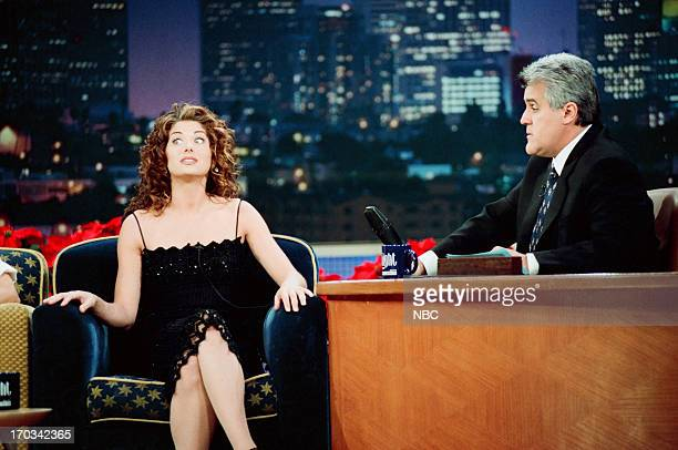 Actress Debra Messing host Jay Leno during an interview on December 28 1998
