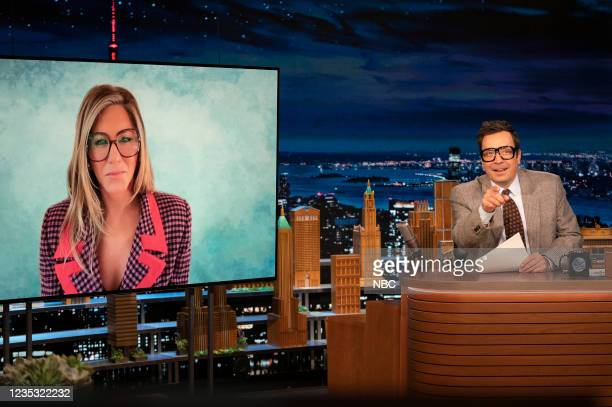 """Episode 1517 -- Pictured: Actress Jennifer Aniston and host Jimmy Fallon during """"This Just In"""" on Friday, September 17, 2021 --"""