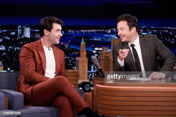 Episode 1518 -- Pictured: Actor James Wolk during an interview with host Jimmy Fallon on Monday, September 20, 2021 --
