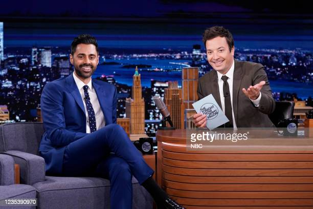 """Episode 1518 -- Pictured: Comedian Hasan Minhaj and host Jimmy Fallon during """"Life Coach"""" on Monday, September 20, 2021 --"""