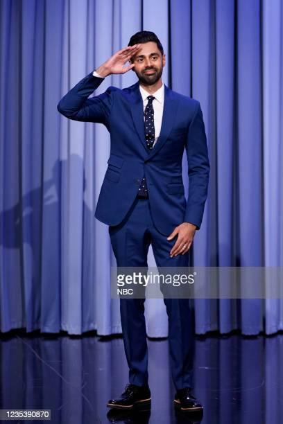 Episode 1518 -- Pictured: Comedian Hasan Minhaj arrives on Monday, September 20, 2021 --