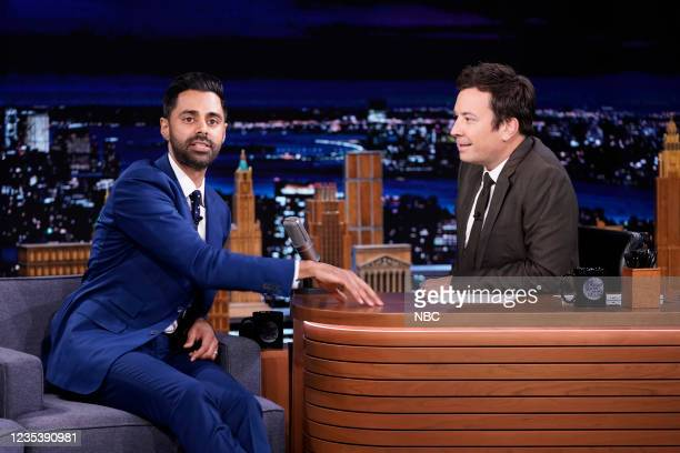 Episode 1518 -- Pictured: Comedian Hasan Minhaj during an interview with host Jimmy Fallon on Monday, September 20, 2021 --