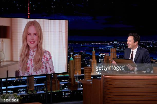 """Episode 1519 -- Pictured: Actress Nicole Kidman and host Jimmy Fallon play """"The Neverwed Game"""" on Tuesday, September 21, 2021 --"""
