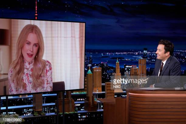 Episode 1519 -- Pictured: Actress Nicole Kidman during an interview with host Jimmy Fallon on Tuesday, September 21, 2021 --