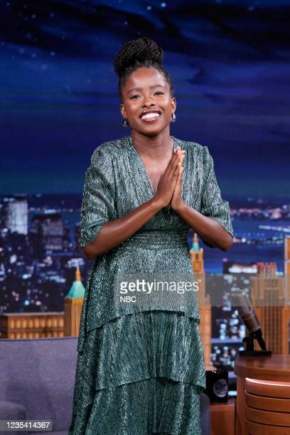 Episode 1519 -- Pictured: Poet Amanda Gorman arrives to the show on Tuesday, September 21, 2021 --