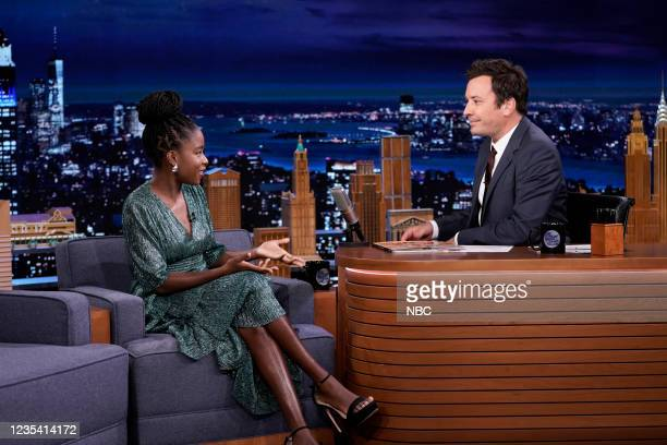 Episode 1519 -- Pictured: Poet Amanda Gorman during an interview with host Jimmy Fallon on Tuesday, September 21, 2021 --