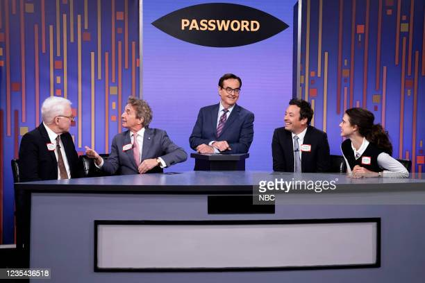 Episode 1520 -- Pictured: Actor Steve Martin, actor Martin Short, announcer Steve Higgins, host Jimmy Fallon, and actress Margaret Qualley play...