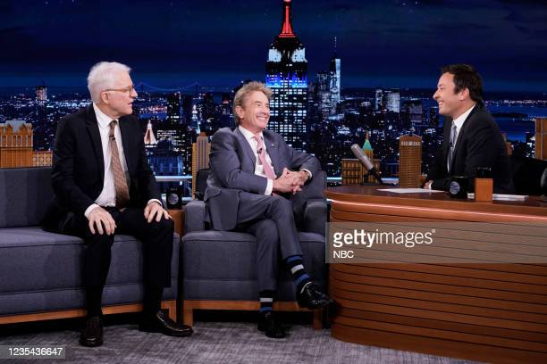 Episode 1520 -- Pictured: Actor Steve Martin and actor Martin Short during an interview with host Jimmy Fallon on Wednesday, September 22, 2021 --