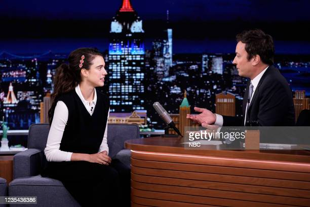 Episode 1520 -- Pictured: Actress Margaret Qualley during an interview with host Jimmy Fallon on Wednesday, September 22, 2021 --