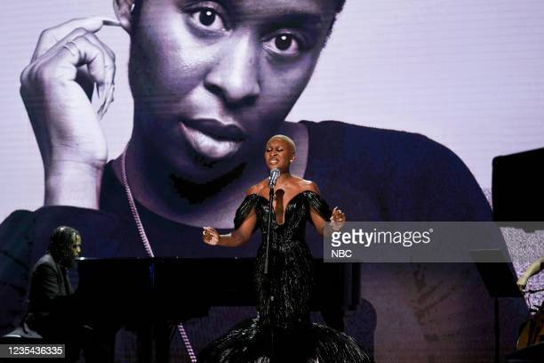 Episode 1520 -- Pictured: Musical guest Cynthia Erivo performs on Wednesday, September 22, 2021 --