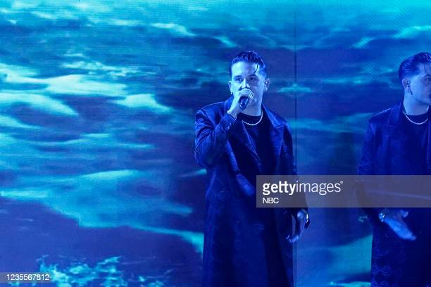Episode 1524 -- Pictured: Musical guest G-Eazy featuring Demi Lovato performs on Tuesday, September 28, 2021 --