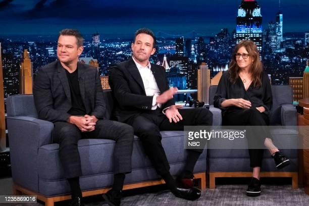 Episode 1535 -- Pictured: Screenwriter Matt Damon, screenwriter Ben Affleck, and screenwriter Nicole Holofcener during an interview on Wednesday,...