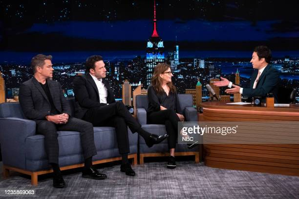 Episode 1535 -- Pictured: Screenwriter Matt Damon, screenwriter Ben Affleck, and screenwriter Nicole Holofcener during an interview with host Jimmy...
