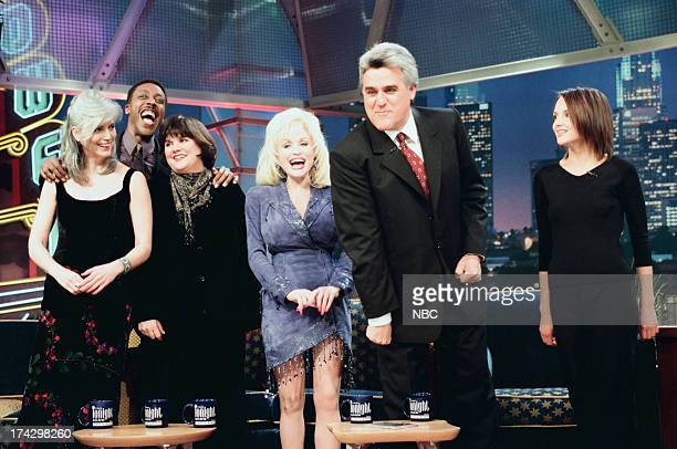 Musician Emmylou Harris comedian Arsenio Hall musicians Linda Ronstadt Dolly Parton host Jay Leno actress Rachael Leigh Cook during an interview on...