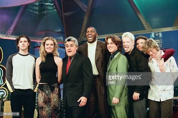 Collective Soul's Dean Roland model/actress Rebecca RomijnStamos host Jay Leno Earvin Magic Johnson Collective Soul's Ed Roland Shane Evans Will...