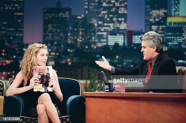 Model/actress Rebecca RomijnStamos host Jay Leno during an interview on February 12 1999