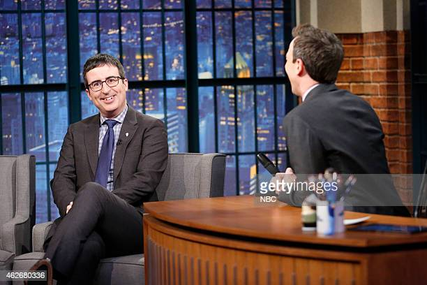 Comedian John Oliver during an interview with host Seth Meyers on February 2 2014