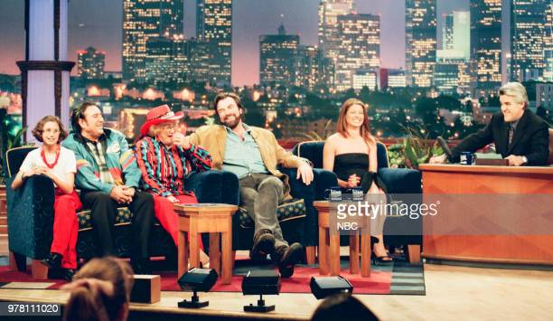 Hog Calling Champs actor Tom Selleck and actress Debra Messing during an interview with host Jay Leno on May 05 1999
