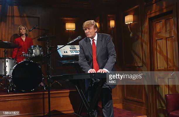 LIVE Episode 16 Air Date Pictured Amy Poehler as Carolyn Kepcher Donald Trump during The Apprentice Band skit on April 3 2004