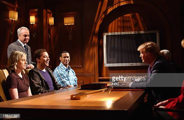 LIVE Episode 16 Air Date Pictured Amy Poehler Lorne Michaels Jimmy Fallon Finesse Mitchell Donald Trump during The Apprentice skit on April 3 2004