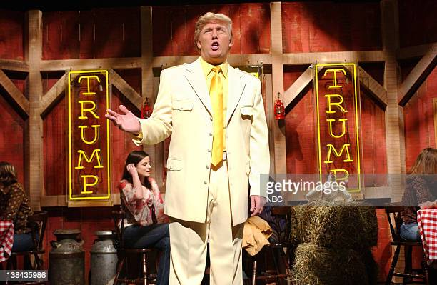 """Episode 16 -- Air Date -- Pictured: Donald Trump during the """"Donald Trump's House of Wings"""" skit on April 3, 2004"""