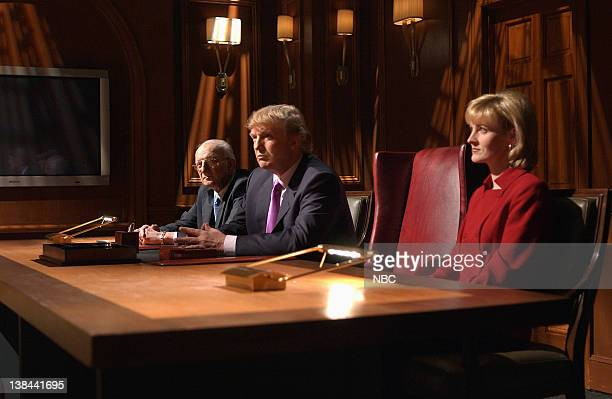 LIVE Episode 16 Air Date Pictured George Ross Donald Trump Carolyn Kepcher during The Apprentice skit on April 3 2004