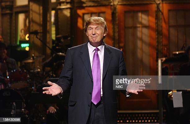 LIVE Episode 16 Air Date Pictured Host Donald Trump during the monologue on April 3 2004